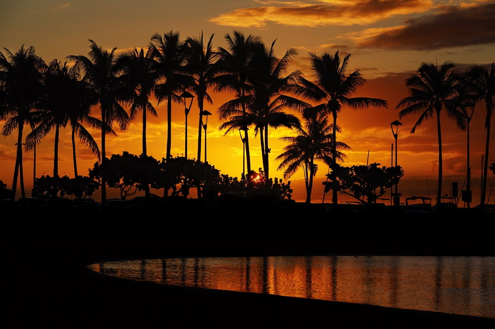 wakacje na hawajach - zachód słońca